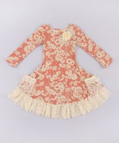Another great find on #zulily! Dusty Rose & Cream Lace Twirl Dress - Toddler & Girls #zulilyfinds