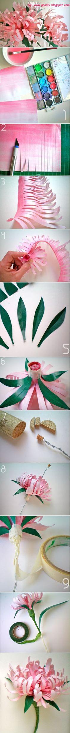 Flores de papel,utilizando corcho,pinturas.