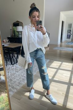 White oversized button down with white sneakers and boyfriend jeans. I paired it with this Chanel dupe. White Sneakers, Boyfriend Jeans, Spring Outfits, Spring Summer, Pairs, Clothes, Style, Pants, White Tennis Shoes