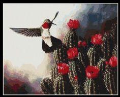 Hummingbird Enjoying Cactus Flowers Counted von InstantCrossStitch