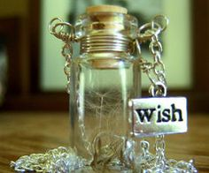 Dandelion Wish in a Glass Bottle. I made something similar to this but with my dogs ashes in it. this is really a cute idea.