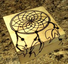 Wood Burned Dream Catcher Box. With word by woodendesignsssss