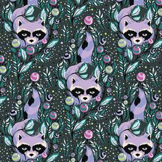 Acacia Raccoons blueberry Tula Pink Free Spirit by claydeal