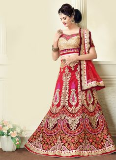 True splendor comes out from your dressing style and design with this red net a line lehenga choli. This stunning dress is showing some amazing with embroidered, patch border, resham and zari work. Co...