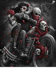 You too can be an artist when you paint with Diamonds! Every kit gives you a chance to create a work of art you can be proud of. This diamond painting kit Fantasy Kunst, Dark Fantasy Art, Motorcycle Art, Bike Art, Lowrider Art, Totenkopf Tattoos, Skull Pictures, Gothic Pictures, Chicano Art