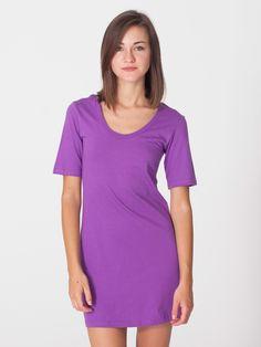 American Apparel - Organic Fine Jersey Short Sleeve Crew Neck T-Shirt Dress
