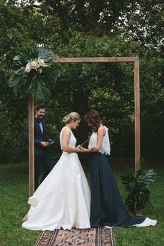 3 Things You Can Do To A Woman Lesbian Wedding - the contrast between the white and the black dress, and that arbor Lgbt Wedding, Wedding Attire, Wedding Dresses, Cute Lesbian Couples, Lesbian Love, Rainbow Wedding, Wedding Bells, Wedding Styles, Marie