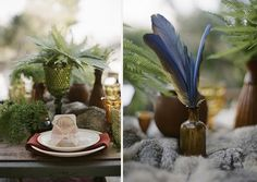 ferns and feathers for centerpieces