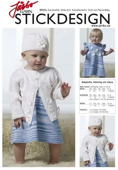 Knitted baby dress with matching cardigan and hat.