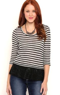 Deb Shops Long Sleeve Metallic Stripe 2fer Top with Lace Layer $12.25