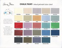 Annie Sloan paint chart - the only problem is choosing what color I should start with.  Your thoughts please.