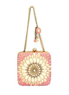 Indian Accessories Designers - Meera Mahadevia - Indian Designer Bags - MM-AW15-MM-BB-CL-013 - Pink Floral Clutch