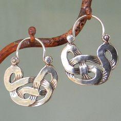 Celtic Knot Earrings  tribal  silver hoop earrings by BobsWhiskers, $52.00