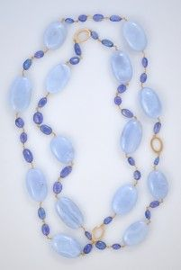 Blue Lace Agate and Tanzonite Necklace. 18k Yellow Gold.