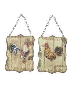 Rustic Rooster Sign Set