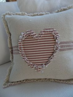 Heart Pillow Grain Sack Pillow Ticking Heart Frayed Edge Pillow Sham Custom Sizes and Fabrics Insert Available Sewing Pillows, Diy Pillows, Custom Pillows, Decorative Pillows, Throw Pillows, Homemade Pillows, Valentine Decorations, Valentine Crafts, My Funny Valentine