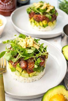 Ahi Tuna Sushi Stacks (Cactus Club Copycat) - The Girl on Bloor Tuna Stack Recipe, Sushi Stacks Recipe, Sashimi, Seafood Dishes, Seafood Recipes, Sushi Recipes, Cooking Recipes, Recipies, Ahi Tuna Steak Recipe
