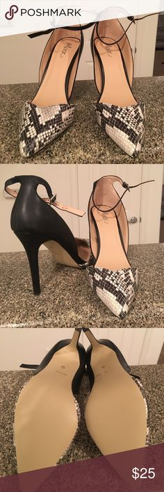 Ankle strap heels Mix Shuz ankle strap, snake look front, black and cream color. New-never worn 4 1/2 heel, man made upper. Bought from another posher but they are too wide for me would fit a 9 wide best mixx shuz Shoes Heels