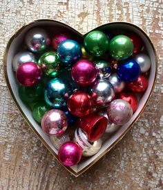 Vintage valentine heart box and antique Christmas ornaments!  Wonderful color and patina!