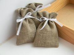 SET OF 10 Eco Rustic Linen Wedding Favor Bag  or by WeddingForYou, $12.00