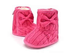 VOULOIR Girls Winter Warm Snow Boot Plus Velvet Inside with Bow ( Peach Large ).