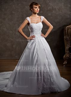 Ball-Gown Sweetheart Chapel Train Satin Wedding Dress With Lace Beading (002011501) - JJsHouse