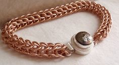 Raw Copper Chain Maille Bracelet Full Persian by cutterstone, $79.00