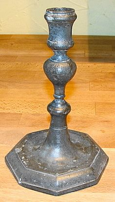 ANTIQUE ENGLISH PEWTER CANDLESTICK HOLDER, c. 1800