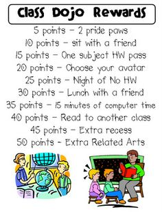 Class Dojo Rewards ideas-I just heard about class dojo. Thinking about using it next year for behavior interventions instead of behavior charts you have to print daily. They have an iPhone app too so you can give points really easily even when your not by the computer.