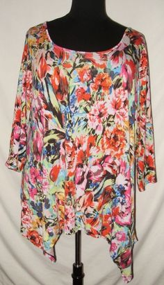 694b818da1c Cupio Brand Womens Plus Size 3X Blouse Vibrant Floral Stretch 3 4 Sleeved M