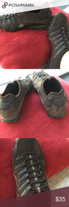 Skechers, brown, 8 Chocolate brown leather and suede Skechers in very good used condition. No wear. Only sign of use is little dried mud in cracks of rubber bottom of shoe, will try and get it out. Size 8, feel a little wide. Skechers Shoes Athletic Shoes
