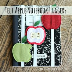 Small Things: Felt Apple Notebook Hugger and August Apple Projects from - use new pti apple dies School Projects, Craft Projects, Sewing Projects, Craft Ideas, Apple Notebook, Felt Bookmark, Crochet Cozy, Fabric Scraps, Felt Crafts