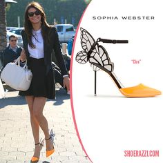 Nina Dobrev in Sophia Webster Spring 2014 Cleo d'Orsay Butterfly Pumps - ShoeRazzi