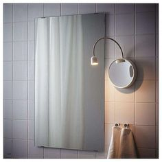 BLÅVIK LED wall lamp with mirror, battery operated white - battery operated white - IKEA