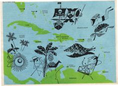 I wish I could find this Charlie Harper print today. I love old maps and this would be a nice way to remember our three years living in the Caribbean.