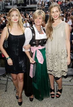 Princess Maria Theresia,(left) and her sister Princess Elisabeth (right) of von Thurn und Taxis, their mother is Princess Gloria (center)