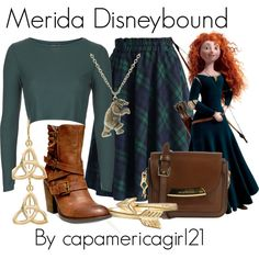 Merida Disneybound by capamericagirl21 on Polyvore featuring Topshop, Chicwish, Steve Madden, Burberry, Fremada, ASOS and Bling Jewelry