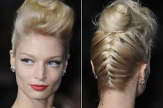 Badgley Mischka    I love this quiff twist on this backwards braided upstyle at Badgley Mischka. French braid from the nape of your neck to your crown. Then backcomb your hair and twist into a sideways quiff.