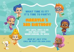 Bubble Guppy Girls Birthday Invite Card Can be Personalized or
