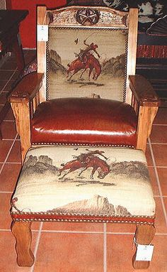 Western Chair Beautiful Use Of This Tapestry.