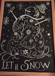 Winter chalkboard for my Sister