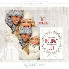 Weihnachtskarte - Weihnachtskarte, sofortiger Download, Photoshop-Vorlage, Fotograf, Adressetikett, rot, Textüberlagerung, Ribbon, rot, Kranz
