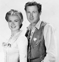 Grace Kelly & Lloyd Bridges photographed on the set of High Noon.