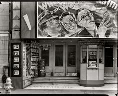 """""""1935 or 1936. Saint Charles Street. Liberty Theatre, New Orleans."""" Now playing: Wheeler and Woolsey in """"The Rainmakers,"""" with a product tie-in (Morton Salt). Shorpy Historical Photo Archive :: Liberty Theatre: 1935"""
