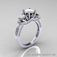 French 14K White Gold Three Stone White Agate Diamond Engagement Ring R182-14KWGDWA