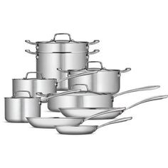 Tramontina 14-Piece Tri-Ply Clad Cookware Set, Stainless Steel >>> Details can be found by clicking on the image.