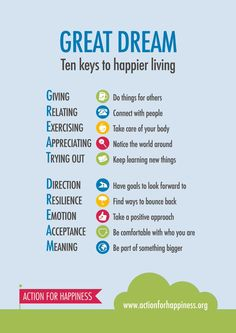 Ten keys to happier living: Giving, Relating, Exercising, Appreciating, Trying out, Direction, Resilience, Emotion...