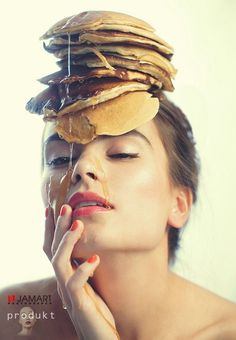 I have no idea what you're talking about… so here's a model with pancakes . I have no idea what you're talking about… so here's a model with pancakes on her head. Food Obsession, Face Photo, Fruit Art, Creative Portraits, Bad Hair, Creative Food, Eating Habits, Food Pictures, Food Styling
