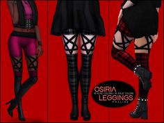 Leggings with pentagram harness in 20 colors. Found in TSR Category 'Sims 4 Female Leggings'