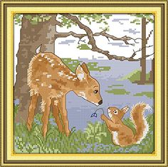 Good Value Cross Stitch Kits Beginners Kids Advanced A Deerlet And A Squirrel In The Forest 11 CT 13X13 DIY Handmade Needlework Set CrossStitching Accurate Stamped Patterns Embroidery Home >>> For more information, visit image link.